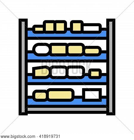 Shelves Cheese Production Color Icon Vector. Shelves Cheese Production Sign. Isolated Symbol Illustr
