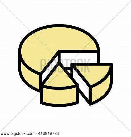 Cooked Cheese Food Dairy Product Color Icon Vector. Cooked Cheese Food Dairy Product Sign. Isolated