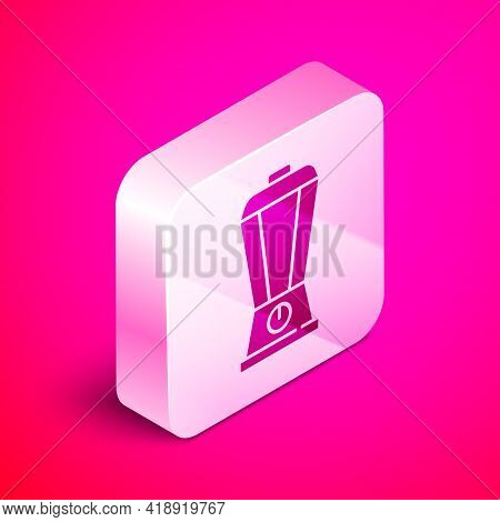 Isometric Blender Icon Isolated On Pink Background. Kitchen Electric Stationary Blender With Bowl. C