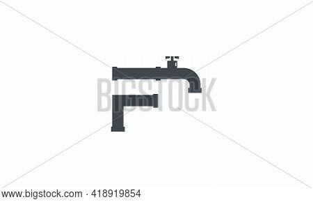 F Letter Logo Tap Faucet Pipe Design Concept
