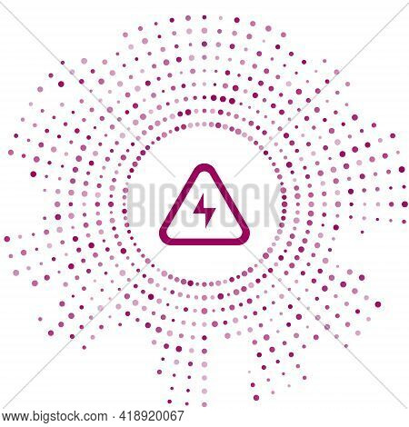 Purple High Voltage Icon Isolated On White Background. Danger Symbol. Arrow In Triangle. Warning Ico