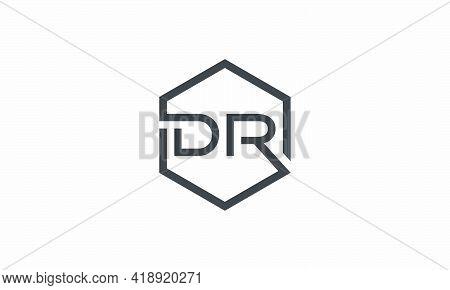 Hexagon Dr Letter Logo Design Vector On White Background