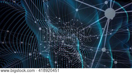 Composition of network of connections over blue glowing mesh. global networking and digital interface concept digitally generated image.