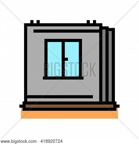 Walls Of Panel House Color Icon Vector. Walls Of Panel House Sign. Isolated Symbol Illustration