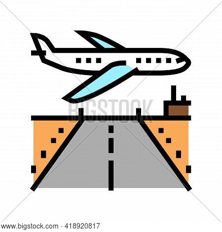 Airport Runway Concrete Color Icon Vector. Airport Runway Concrete Sign. Isolated Symbol Illustratio