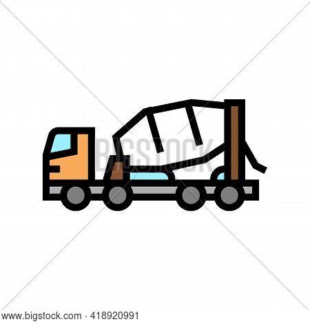 Truck Concrete Transportation Color Icon Vector. Truck Concrete Transportation Sign. Isolated Symbol