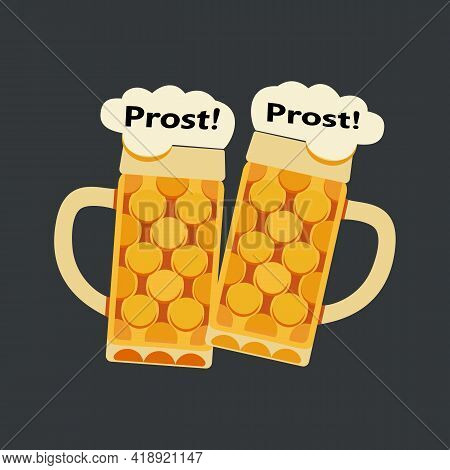 Clinking Beer Mugs Toasting Minimalist Flat Vector Icon. Beer Glasses With Foam Cute Cartoon Design