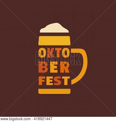 Oktoberfest Beer Mug Typography Simple Vector Icon. Craft Beer Festival Cute Cartoon Design Element.