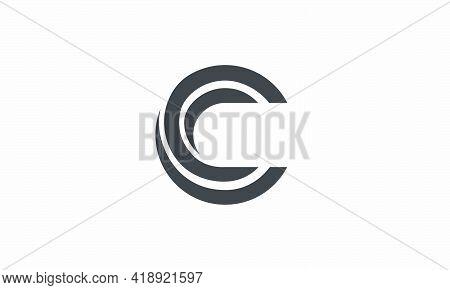 Circle C Wave Swoosh Letter Logo Design Concept