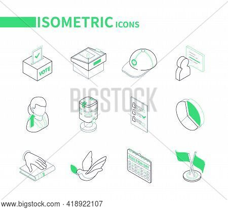 Election And Voting - Modern Line Isometric Icons Set