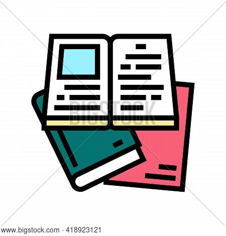 Reading Books Leisure Color Icon Vector. Reading Books Leisure Sign. Isolated Symbol Illustration