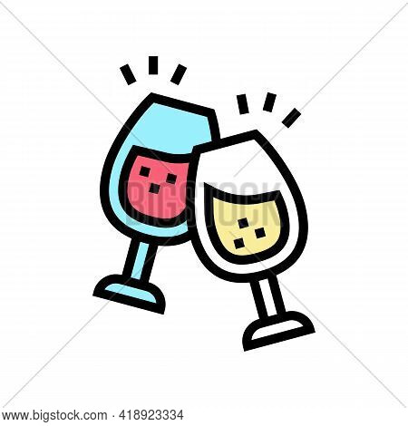 Wine Leisure Color Icon Vector. Wine Leisure Sign. Isolated Symbol Illustration
