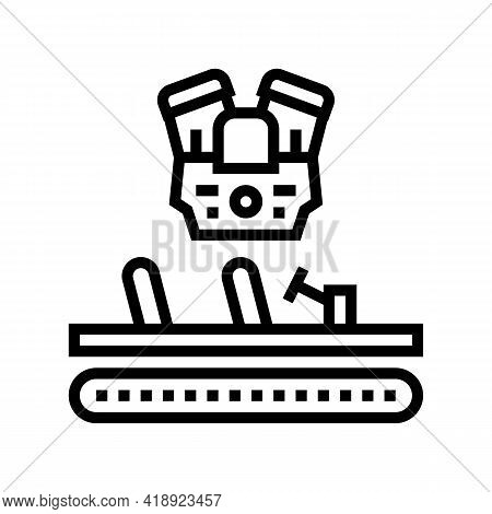 Engine Installing Car Line Icon Vector. Engine Installing Car Sign. Isolated Contour Symbol Black Il