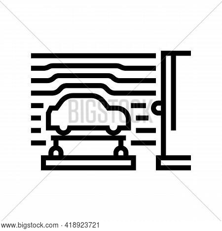 Wind Tunnel Car Line Icon Vector. Wind Tunnel Car Sign. Isolated Contour Symbol Black Illustration