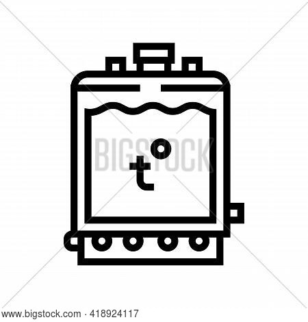 Warming Tank For Preparing Cheese Line Icon Vector. Warming Tank For Preparing Cheese Sign. Isolated