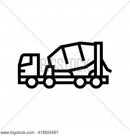 Truck Concrete Transportation Line Icon Vector. Truck Concrete Transportation Sign. Isolated Contour