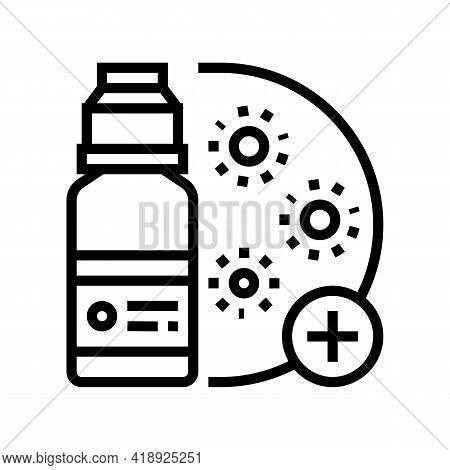 Drugs Infection Treatment Line Icon Vector. Drugs Infection Treatment Sign. Isolated Contour Symbol