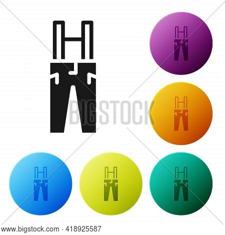 Black Pants With Suspenders Icon Isolated On White Background. Set Icons In Color Circle Buttons. Ve