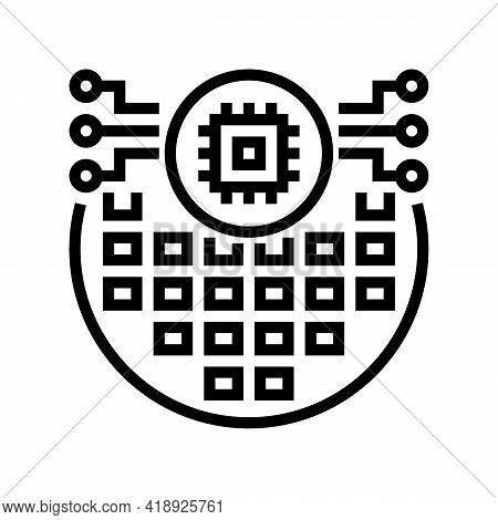 Electronic Chip Semiconductor Manufacturing Line Icon Vector. Electronic Chip Semiconductor Manufact