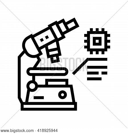 Researching Microscope Semiconductor Manufacturing Line Icon Vector. Researching Microscope Semicond