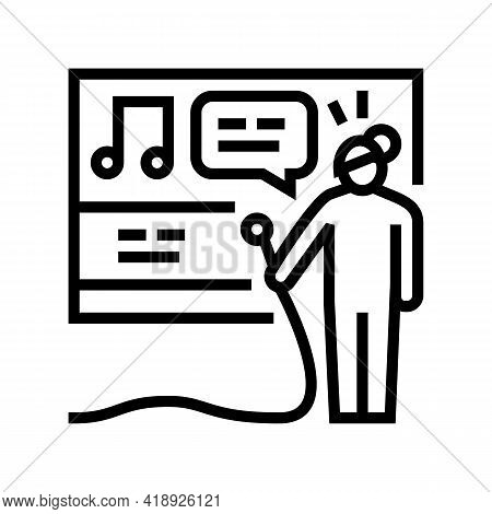 Karaoke Leisure Line Icon Vector. Karaoke Leisure Sign. Isolated Contour Symbol Black Illustration
