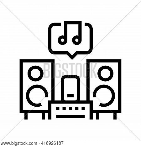 Music Leisure Line Icon Vector. Music Leisure Sign. Isolated Contour Symbol Black Illustration