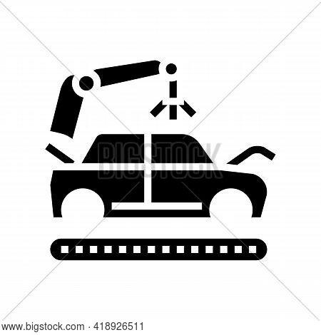 Apply Primer On Car Body Glyph Icon Vector. Apply Primer On Car Body Sign. Isolated Contour Symbol B