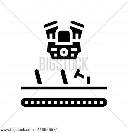Engine Installing Car Glyph Icon Vector. Engine Installing Car Sign. Isolated Contour Symbol Black I