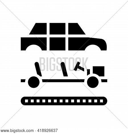 Assembly Of All Car Parts Glyph Icon Vector. Assembly Of All Car Parts Sign. Isolated Contour Symbol