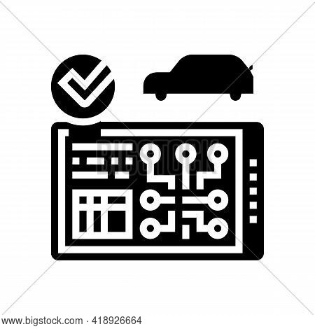 Testing Computer Electronic System Car Glyph Icon Vector. Testing Computer Electronic System Car Sig