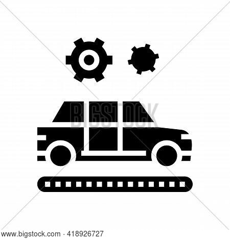 Manufacturing Car Glyph Icon Vector. Manufacturing Car Sign. Isolated Contour Symbol Black Illustrat