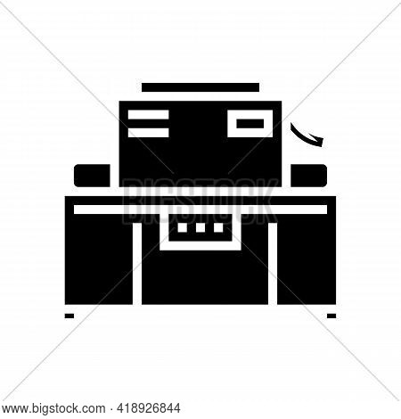 Industrial Machine Cheese Production Glyph Icon Vector. Industrial Machine Cheese Production Sign. I