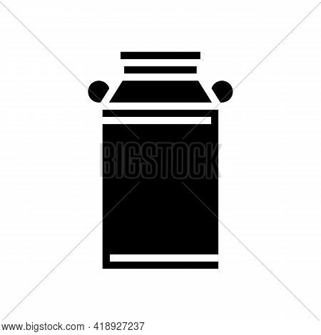 Milk Can Glyph Icon Vector. Milk Can Sign. Isolated Contour Symbol Black Illustration
