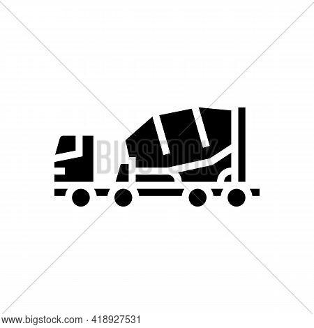 Truck Concrete Transportation Glyph Icon Vector. Truck Concrete Transportation Sign. Isolated Contou