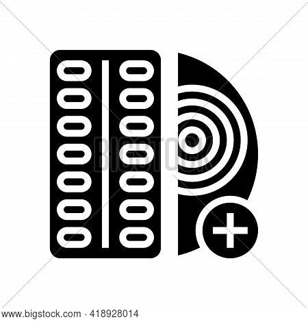 Oral Medication For Control Inflammation Glyph Icon Vector. Oral Medication For Control Inflammation