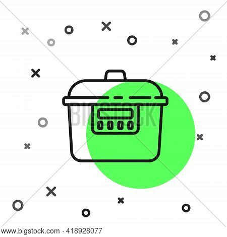 Black Line Slow Cooker Icon Isolated On White Background. Electric Pan. Vector