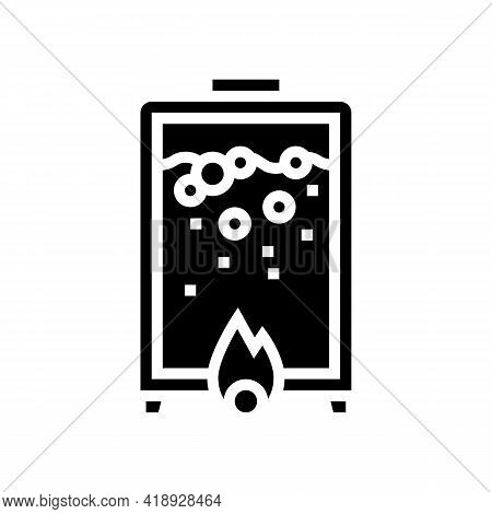 Heating Pharmaceutical Production Glyph Icon Vector. Heating Pharmaceutical Production Sign. Isolate