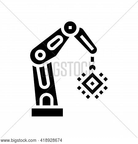 Robotic Arm Semiconductor Manufacturing Glyph Icon Vector. Robotic Arm Semiconductor Manufacturing S