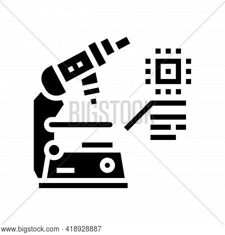 Researching Microscope Semiconductor Manufacturing Glyph Icon Vector. Researching Microscope Semicon
