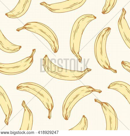Hand-drawn Seamless Banana Pattern. Endless Repeatable Background With Scattered Tropical Fruits For
