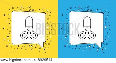 Set Line Scissors Hairdresser Icon Isolated On Yellow And Blue Background. Hairdresser, Fashion Salo
