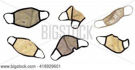 Six Different Soiled And/or Damaged Cloth Face Masks Isolated On White For Your Convenient Extractio