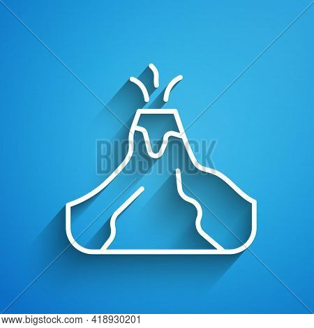 White Line Volcano Eruption With Lava Icon Isolated On Blue Background. Long Shadow. Vector