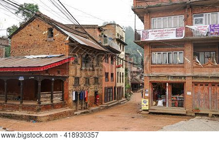 Panauti, Nepal - October 2019: Empty Streets At Panauti Town, Nepal, Ancient Traditional Architectur