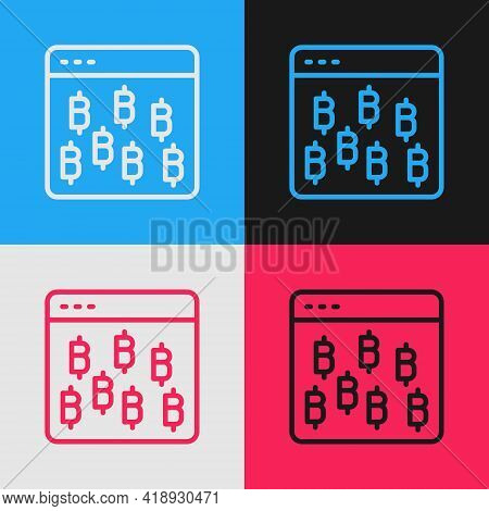Pop Art Line Cryptocurrency Coin Bitcoin Icon Isolated On Color Background. Physical Bit Coin. Block