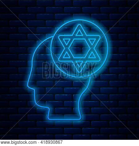 Glowing Neon Line Orthodox Jewish Hat Icon Isolated On Brick Wall Background. Jewish Men In The Trad