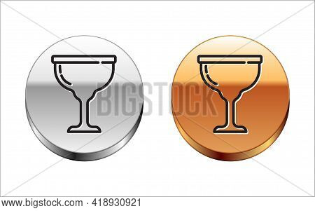 Black Line Jewish Goblet Icon Isolated On White Background. Jewish Wine Cup For Kiddush. Kiddush Cup