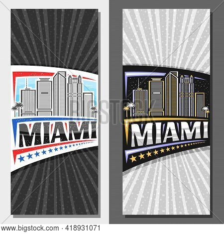 Vector Vertical Templates For Miami, Decorative Leaflets With Illustration Of American Miami City Sc