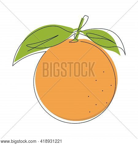 Continuous Single Line Drawing Of Citrus Fruit With Orange Color. One Line Drawing Of A Whole Orange