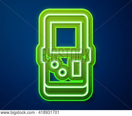 Glowing Neon Line Portable Tetris Electronic Game Icon Isolated On Blue Background. Vintage Style Po